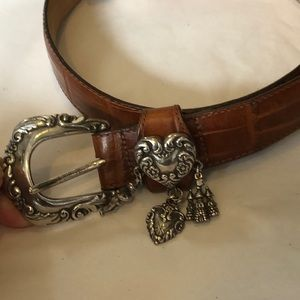 Brighton croc pattern leather belt with charms